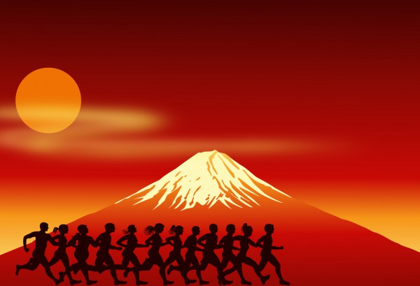runners running on the Fuji Mountain background.
