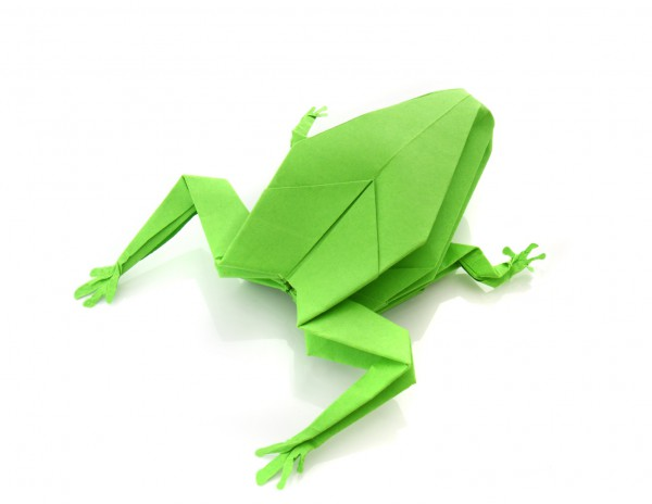 .origami green frog
